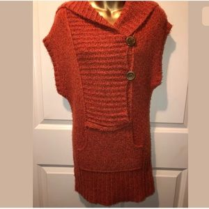 Free people orange sweater hooded dress size XS